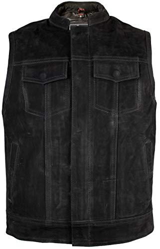 Mat zwart lederen vest in jeans-look met zijdelingse ritssluitingen om te verstellen. Medium zwart