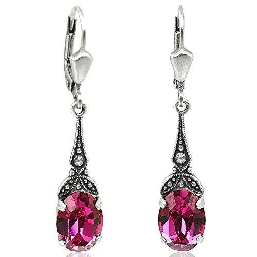 Jugendstil Ohrringe mit Kristallen von Swarovski Pink Silber NOBEL SCHMUCK