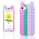 Pop It Phone Case for iPhone 6/6S/7/8/SE 2020, Cartoon Funny Cute Fun Silicone Design Cover for Girls Kids Boys Teen, Fashion Cool Unique Fidget Color Mouse Cases (for iPhone 6/6S/7/8/SE 2020 4.7')