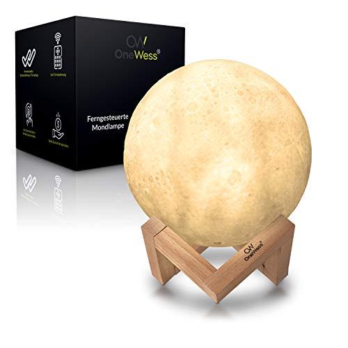 OneWess® Mondlampe - Mondlampe mit Holzgestell - 16 Leuchtfarben - längenverstellbare Deckenaufhängung - mit Fernbedienung 15cm