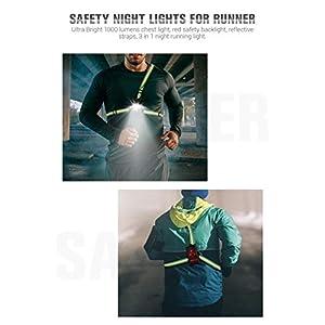 Luz para Correr Running, Luz del pecho, Luz Led Frontal Correr con Recargables USB Impermeable, Lámpara 3 Modos 1000 Lúmenes, con Cinta reflectante, Liviano, Cómodo e Ideal para Trotar (Green)