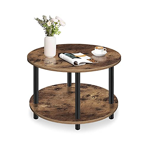 Vanrohe Small Round Coffee Table for Living Room, 2-Tier Industrial Rustic Brown Wooden Tea Table with Open Storage Shelf 23.5'' for Balcony/Office/Reception Room, Metal Legs, Easy to Assemble