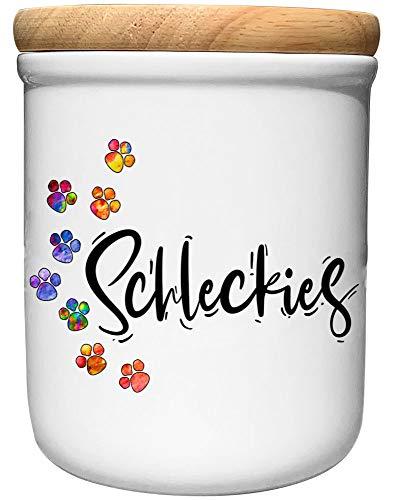 Cadouri Keramik Leckerli-Dose » Schleckies «┊Snackdose Keksdose Aufbewahrungsdose┊mit Holzdeckel