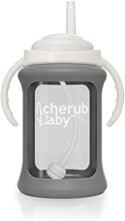 Cherub Baby Wide Neck Glass Straw Cup with Colour Change Sleeve 240ml, Grey