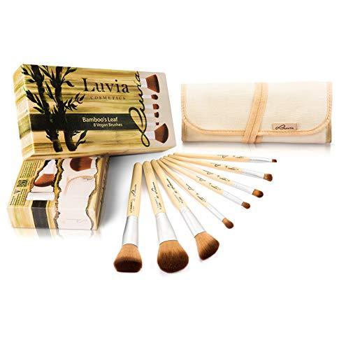 Luvia Pinsel Set Bamboo's Leaf - Make-Up Pinsel Set Bambus Inkl. 8 Pinseln & Praktischer Aufbewahrungstasche aus Leinen – Vegane Kosmetik-Pinsel/Schminkpinsel