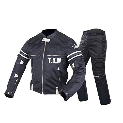 Veste de Moto Motocross Costumes Veste Pantalon Moto Veste de Protection Armure De Protection Moto Vêtements Black One Set Black XXL
