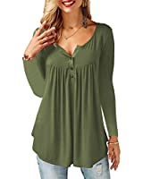 AMORETU Womens Long Sleeve Tops Casual V Neck Button Tunic Blouse Tshirt Army Green S