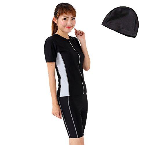 LE MODE de toi F135 Women's Fitness Swimsuit, Separate, Short Sleeve, Swim Cap Set, Prevents Ride-up, silver