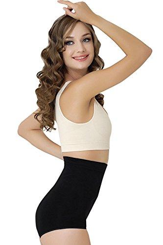 Formeasy Damen Figurformender Miederslip ohne Bein, bauchhoch - Bauchweg Unterhose Bauch Weg Slip Shapewear (XXXL, Schwarz)