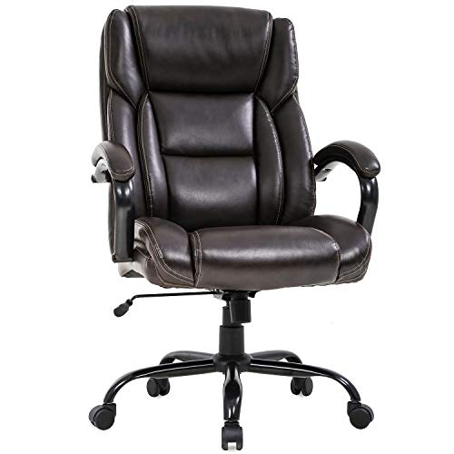 Big and Tall Office Chair 500lbs Wide Seat Ergonomic Desk Chair Task High Back Executive Chair Rolling Swivel PU Computer Chair with Lumbar Support Armrest Adjustable Chair for Heavy People, Brown brown chair gaming