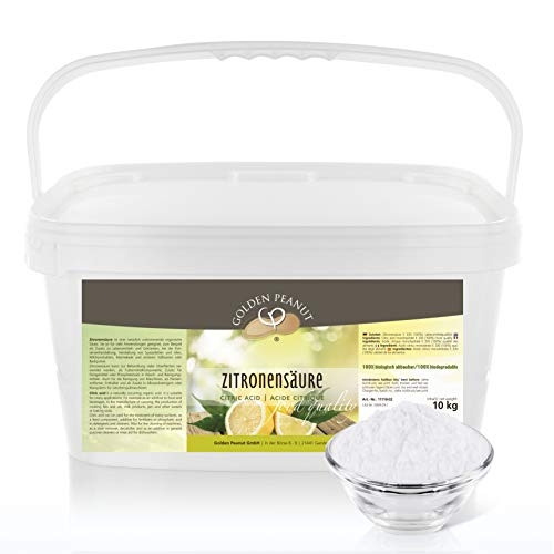 Zitronensäure monohydrat E-330 10 kg   Lebensmittelqualität  ohne Gentechnik   geprüfte Qualität   Entkalker   Golden Peanut