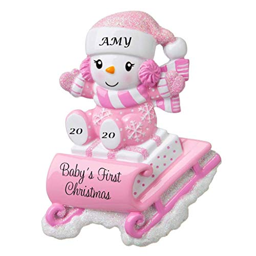 Holiday Treasures 2020 Personalized Ornament Baby's First Christmas Snowbaby on Sled Christmas Tree Ornament Handwritten Customized Glittered Decoration Baby Ornaments-Free Personalization (Pink)