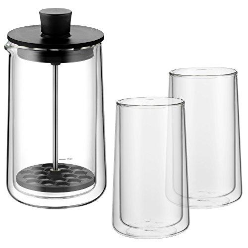 WMF Coffee Time Set 3-teilig Milchaufschäumer, doppelwandige Gläser, Thermogläser, hitzebeständiges Kaffeeglas