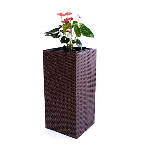 Blumenkübel Pflanzkübel Blumentopf Übertopf Polyrattan Säule LxBxH 40x40x84cm braun
