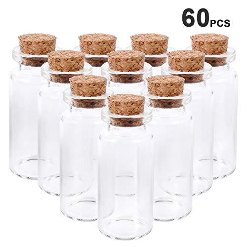 60 Botellas de Deseo - Botellas de vidrio con tapas 10 ml, Mini Botellas de Cristal con Tapones de Corcho, Mensaje, Deseo de Fiesta de Bodas de PROKITCHEN