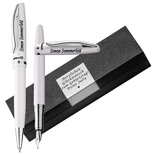 Pelikan - Füller und Kugelschreiber Set weiß mit Gravur als Geschenk Boxgravur Jazz Elegance im Set PS27-8