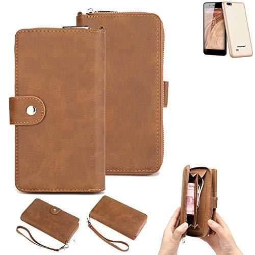 K-S-Trade® Handy-Schutz-Hülle Für Blaupunkt SL 04 Portemonnee Tasche Wallet-Case Bookstyle-Etui Braun (1x)