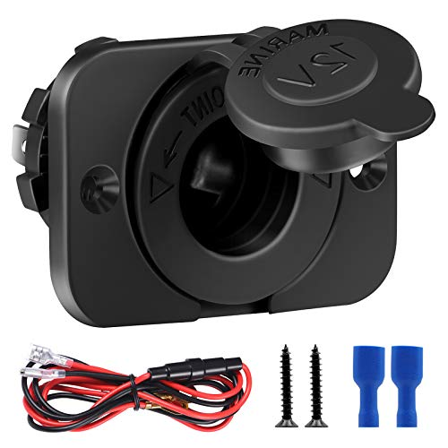 FENGWANGLI 12V Waterproof Cigarette Lighter Socket Outlet Replacement with Panel Mount and Wire Fuse DIY Kit for Car Truck Boat Marine