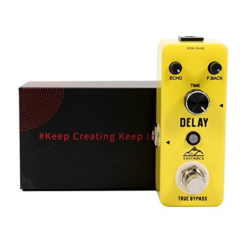 EastRock Effektpedal Delay Pedal Sustain Effekt Gelb mit Box E-Gitarre (Delay)