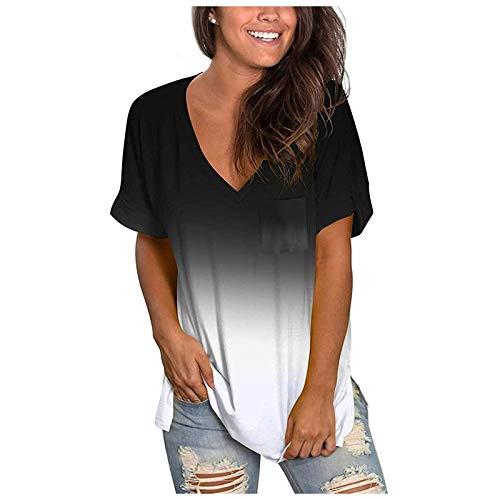 T-Shirt Damen Sommer Tie Dye/Einfarbig Drucken Oberteile Kurzarm Blusen V-Ausschnitte Shirt Hemd Loose Oversize Frauen Bluse Tops Casual Bedruckt Top Mode Tunika mit Taschen