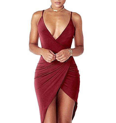 DRESHOW Damen Sexy Deep V-Ausschnitt Ärmelloses Spaghetti-Armband Bodycon Wrap Kleid Vorne Schlitzbandage Midi Club Kleid M Wine Red 1
