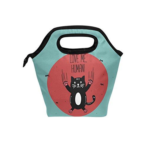Love Me humain Funny Cat repas isotherme Sac fourre-tout pour femme Lunch Box Cooler avec fermeture à glissière pour adultes/enfants filles, garçons, hommes