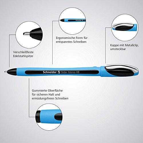Schneider Slider Memo XB Ballpoint Pen, Asstd. Colors, Pack of 6 (150296) Photo #5