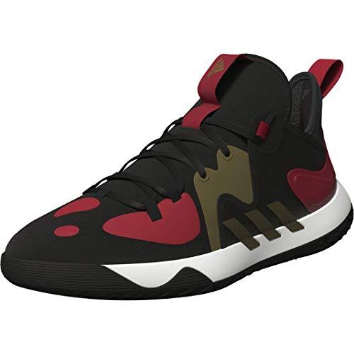 adidas Unisex Harden Stepback 2 Basketball Shoe, Core Black/Gold Metallic/Scarlet, 7 US Men