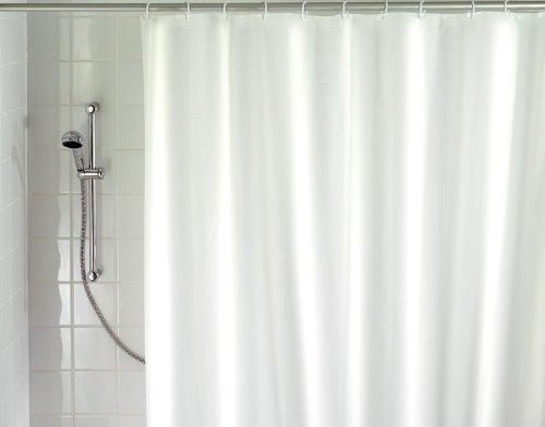 WENKO Duschvorhang Uni - waschbar, mit 8 Duschvorhangringen, 200 x 120 cm, weiß
