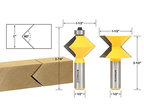 Yonico 15225 Edge Banding Router Bit Set with V-Design Tongue and Groove 1/2-Inch Shank