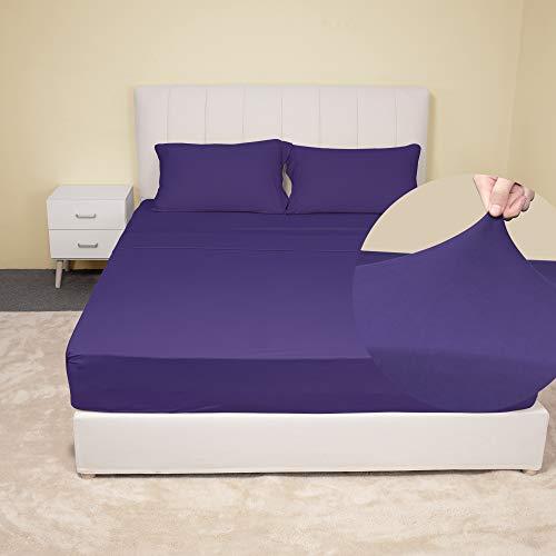 Stretch Purple Sheets Set King Size - Microfiber...