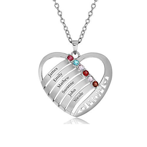 Collar familiar personalizado con nombre grabado y collar con piedra de nacimiento, collar con nombre, aniversario para mujer(Plata 16)
