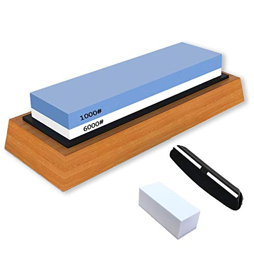Whetstone Knife Sharpening Stone Dual Side Grit 1000/6000 Best Whetstone Sharpener for Kitchen | NonSlip Bamboo Base & Angle Guide