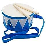 Tambor para niños, azul y blanco, instrumento musical de madera, con correa y palillos, diámetro: 20 cm, 3845