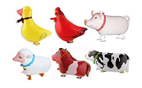 Borang 11 Pack of 6 Walking Farm Animal Balloon Birthday Bbq Party Décor(Pony Duck Rooster Cow Pig Sheep)
