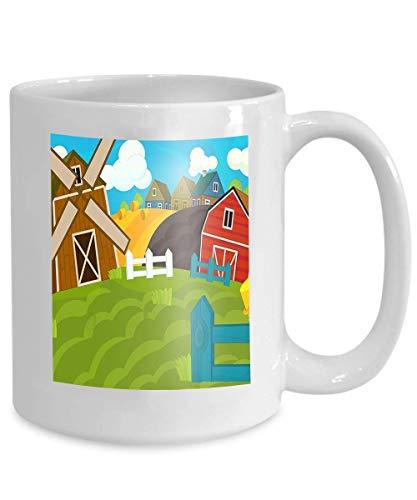 N\A Taza de café Personalizada Regalos de cerámica Taza de té Escena de Granja de Dibujos Animados Uso Diferente Escena de Granja de Dibujos Animados Uso Tradicional de Pueblo Vintage