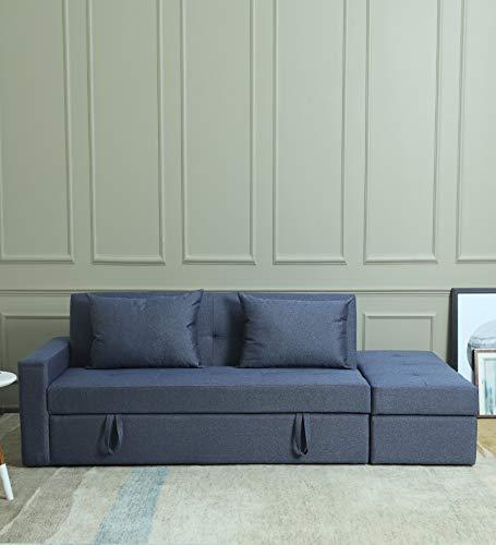 CasaCraft by Pepperfry - Flavio Sofa-Cum-Bed in Spurce Blue Colour
