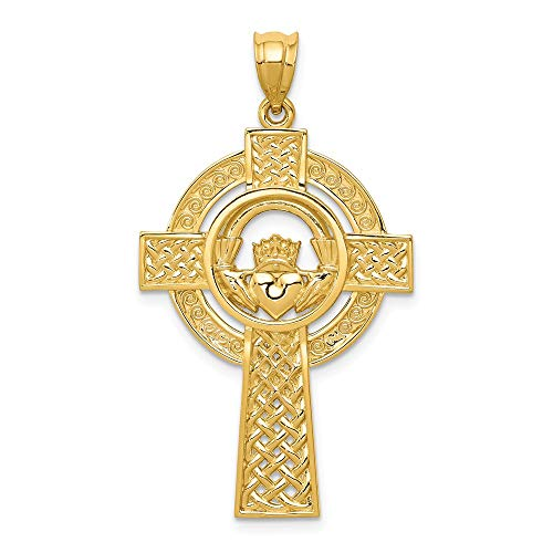 Solid 14k Yellow Gold Celtic Irish Claddagh Cross Pendant Charm - 40mm x 22mm