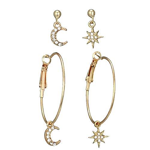 Culer 1 Paar Damen-Kristall-Ohrringe Sterne Der Mond Ohrring-Kombination Anzug Joker Zubehör Mond-Stern-Ohrringe Baumeln Runde Ohrringe