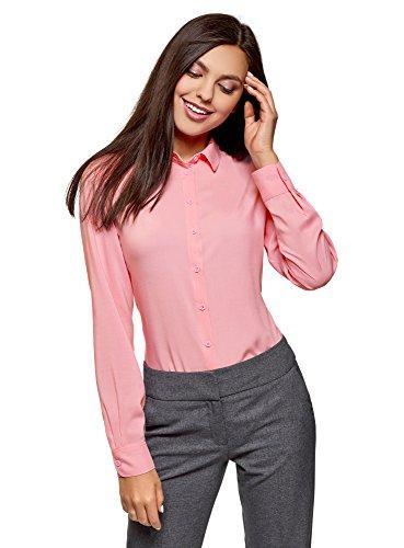 oodji Ultra Mujer Blusa Básica de Viscosa, Rosa, ES 34 / XXS