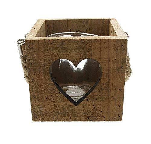 Dekoleidenschaft Kerzenhalter Herz im Shabby Look, aus recyceltem Holz + Glas-Windlicht, Teelichthalter