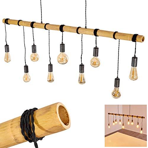 Pendelleuchte Galena, längliche Hängelampe aus Metall/Bambus in Dunkelgrau/Braun, 9-flammig, 9 x E27 max. 60 Watt, Käfig, Gitter-Optik, moderne Hängeleuchte geeignet für LED Leuchtmittel