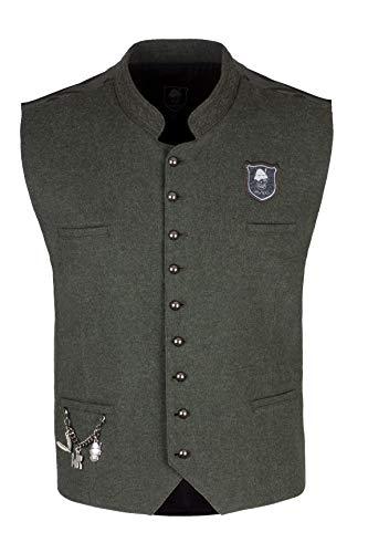 Wiesnrocker, Moderne Trachtenweste für Herren in Khaki/Camouflage, Gilet mit Charivari, Größe S bis XXXL (M, Khaki/Camo)