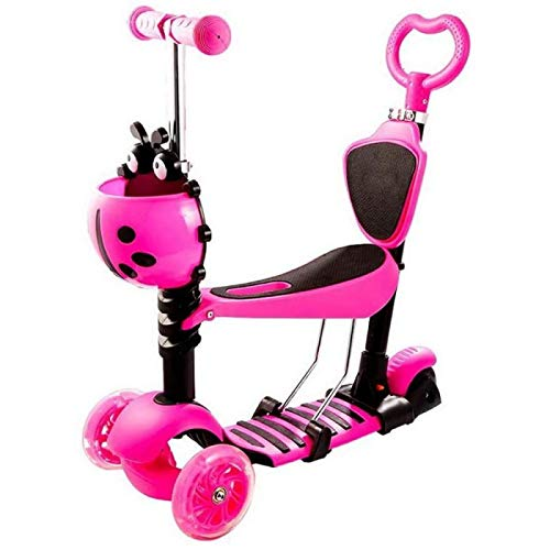 ANZRY Tres En Uno Niños Scooter Box Niños Baby Walker Triciclo Balance Bike Ride On con Asiento De Luz LED Extraíble,Pink