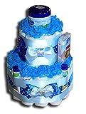 WindeltortenZauber - Tarta de pañales DM azul para niño con productos de cuidado para bebé, regalo para baby shower, bautismo, nacimiento, souvenir