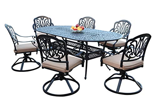 GrandPatioFurniture.com CBM Patio Elisabeth Cast Aluminum 7 Piece Dining Set with 6 Swivel Rockers SH258-6S CBM1290