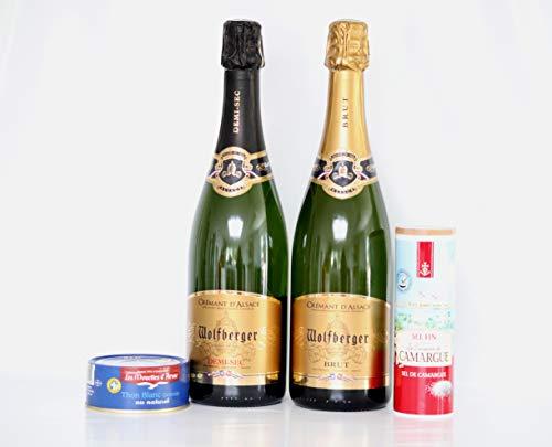 Wolfberger Cremant 2 Sorten: Brut und Demi-Sec 12%vol. 2x0,75l. +Thunfisch weiß Germon au naturel 160g./ATG112g.