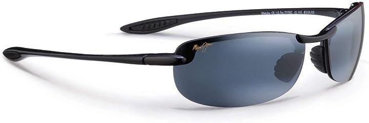 Occhiali da sole w/polarizzato neutral grey lens mj405-02 nero - maui jim makaha Melika