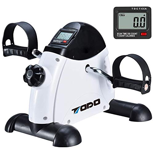 TODO Mini Exercise Bike Pedal Exerciser with LCD Monitor for Leg and Arm Recovery(White)