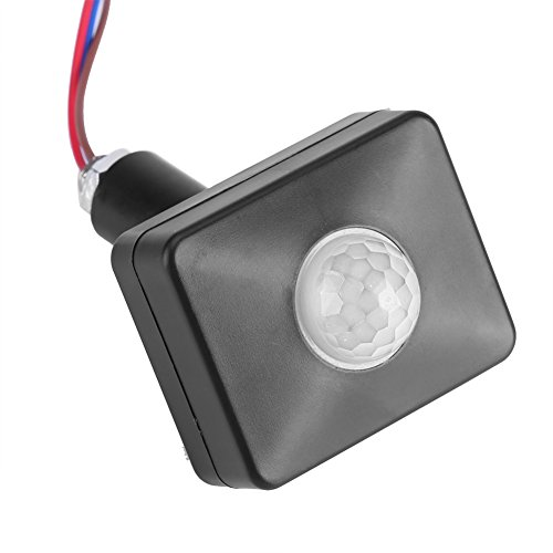 Rörelsesensor, 110–240 V svart PIR-omkopplare infraröd ljussensor detektor väggtrottoarbrytare tid justerbar för utomhus trädgård hem arbetsplats